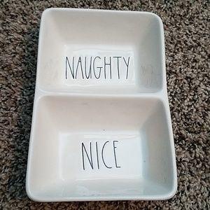 Rae Dunn naughty nice divided tray